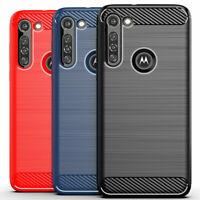 For Motorola Moto G8 Power Lite Slim Fit Carbon Fiber TPU Protective Case Cover