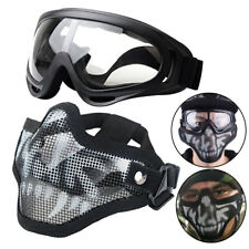 Tactical Steel Mesh Half Face Skull Mask + X400 UV Goggles Airsoft Paintball