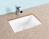 Fiore 18x13 Rectangle Undermount Bathroom Sink, Vitreous Ceramic Lavatory White