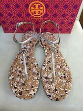 $ 225 Tory Burch Marion Confetti Quilted T-Strap Sandal, Silver size 11