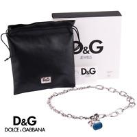 DOLCE & GABBANA - Damenkette Collier SEAL ME Edelstahl Silber Blau Farben DJ0852