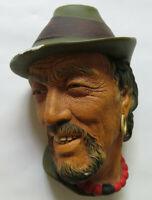"Vintage Bossons England Chalkware Head ""Tibetian"" Wall Plaque / Ornament"