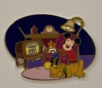 Disney Auctions P.I.N.S. Happy New Year Mickey Mouse & Pluto Pin LE 500 *DAMAGED