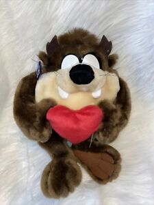 Taz Plush With Heart New No Sound Applause Looney Tunes 1998 Valentines Love Toy