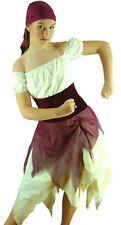 Pirate Maid Burgundy Cream Jazz Modern Dance Costume - Ladies 8-10 Girls 12-14