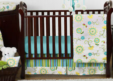 Discount Boutique Luxury Blue Green Flower Bumperless Baby Crib Bedding Set Girl