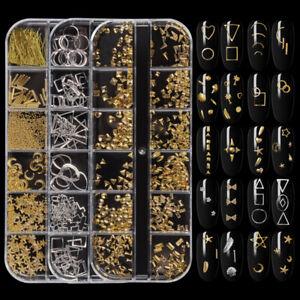 3D Nail Art Decor Gold Silver Moon Star Shape Metal Studs Rivet Tips Manicure