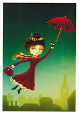 MARY POPPINS FLIES WITH RED UMBRELLA by Elena Schweitzer Modern Russian postcard
