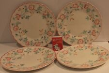 Churchill Side Plates 4 Pink Floral  Bread Entree Scallop Rim England Vintage