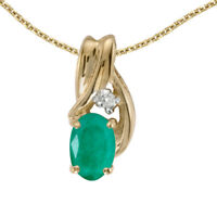 """10k Yellow Gold Oval Emerald And Diamond Pendant with 18"""" Chain"""