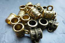 Charm Bail Hangers beads 20 Antique Gold & Bronze hole 2mm 11x8x6mm Findings