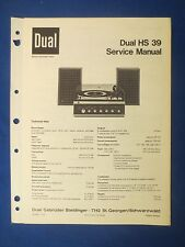 DUAL HS39 SERVICE MANUAL FACTORY ORIGINAL ISSUE THE REAL THING