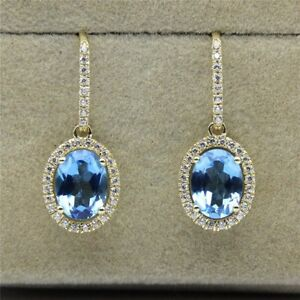 14K Yellow Gold Over 2.00CT Oval Cut Sapphire Dangle Earrings For Women's