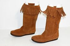 MINNETONKA MOCCASINS TALL SUEDE LEATHER FRINGE BOOTS #1622  SIZE 10