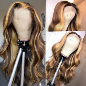 30 Inch Highlight Human Hair Wigs Body Wave Lace T Part Wig Peruvian Hair Remy
