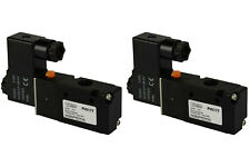"2x 24V DC Solenoid Air Pneumatic Control Valve 3 Port 3 Way 2 Position 1/4"" NPT"