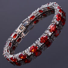 Oval Cut Garnet Ruby Fine Topaz 18K White Gold Plated Dainity Tennis Bracelet