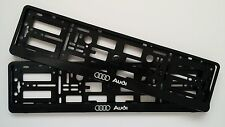2x BLACK AUDI NUMBER PLATE SURROUNDS HOLDER FRAME FOR ANY AUDI CARS A3 A4 A5 A6