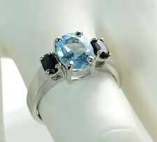 Solid 925 Sterling Silver Genuine Blue Topaz & Sapphire 3-Stone Ring Sz- 7 '