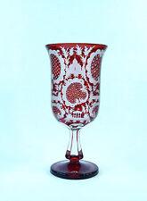 Beautiful Antique Bohemian  Ruby Red Cut  Glass Vase