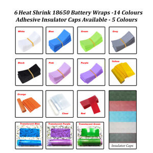 6x Heat Shrink 18650 Battery Wraps. Cut to size. 16 Colours. UK & Fast Post