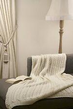 """Handmade Ecru White 100% Merino Wool 41"""" X 61"""" Throw Blanket Made in Ireland"""