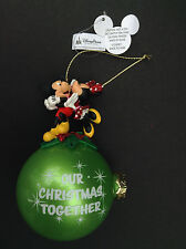 NWT DISNEY Parks MICKEY and MINNIE MOUSE OUR CHRISTMAS TOGETHER Glass Ornament