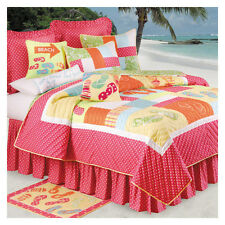 FLIP FLOPS Twin QUILT : TEEN GIRLS PINK BEACH HOUSE TROPICAL COMFORTER