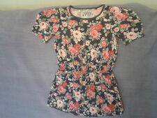 Girls 7 Years - Navy Blue with Pink Floral Short Sleeve Tunic Top - Next