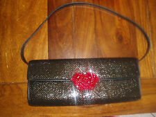 """SALE MSRP $139 NWOT CUTE """" RARE """" CACHE  BLACK SEQUIN PURSE WITH RED """" LIPS """""""