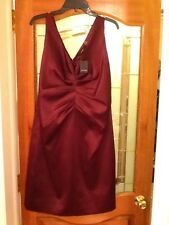 TAHARI Raisin Silk Cocktail Dress V-Neck Sleeveless Size 12 NWT !