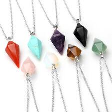Crystal Pendulum Healing Chakra Dowsing Reiki Pendant Chain Necklace Carnelian