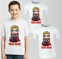 Personalised Thor Marvel T-Shirt, Your Name Boys Girls Birthday Gift Kids Top