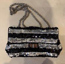 Stunning Chanel 2.55 Sequin Shoulder Bag 100% Genuine & Authentic. Black/Silver