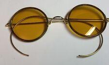 12 k Gold Celluloid Round Gold Lens Sun Glasses Ear Wrap Arms Vintage