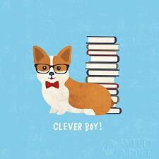 "CORGI WELSH PEMBROKE DOG COMIC FINE ART PRINT  ""Clever Boy!"" Books Bow Tie"