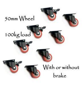 "Heavy Duty 2"" 50mm 100kg Polyurethane Swivel Castor Wheels PU/PTU Caster Brake"
