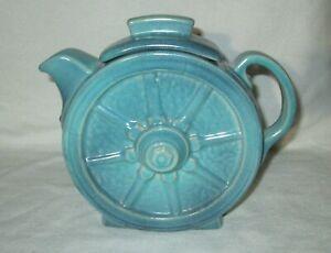 FRANKOMA Pottery Wagon Wheels Teapot, #94T, Turquoise Glaze? Ada Clay
