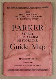 1945 Lawrence H. Parker Guide Map of SALEM MA Massachusetts, Illustrated - Nice