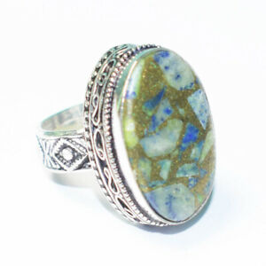 Copper Turquoise Gemstone 925 Silver Jewelry Ring Size- 7.75