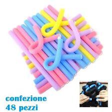 Set 48 Bigodini Morbidi Roller Flessibili Ricci Acconciatura Colorati moc