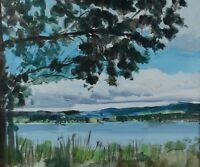 "Jack Hambleton 1916-88 Oil Painting Pennask Lake BC 20x24"" Canadian Listed"