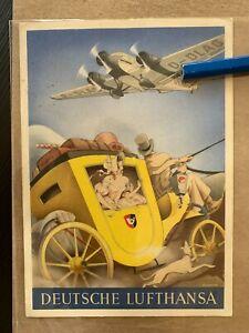 Deutsche Lufthansa Kuenstlerkarte 1937 Ullmann Postkutsche