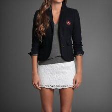 NWT Abercrombie Womens Blazer Wool Jacket Size Large Navy Blue Prep School Coat