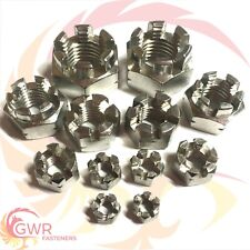 M5 M6 M8 M10 M12 M16 A2 Stainless Steel - Castle Nuts Slotted Nuts DIN935 Metric