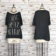 """WILDFOX """"Let Love Rule"""" Script Tee T-Shirt Dark Gray Oversized Size 1 Small NWT"""