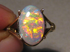2.70 ctw. Neon Red semi Black  Opal Ring 14kt Yellow Gold any size