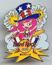Hard Rock Cafe MUNICH 2003 July 4th PIN Patriot Girl Playing DRUMS - HRC #18532