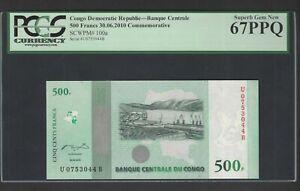 Congo Democratic 500 Francs 30-6-2010 P100a Uncirculated Graded 67