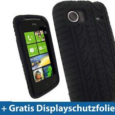 Schwarz Reifenprofil Silikon Tasche für HTC 7 Mozart Windows Hülle Case Skin
